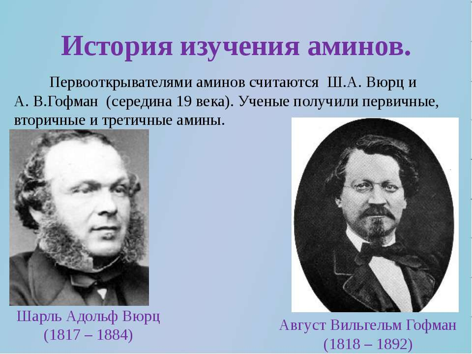 История изучения аминов. Первооткрывателями аминов считаются Ш.А. Вюрц и А. В...