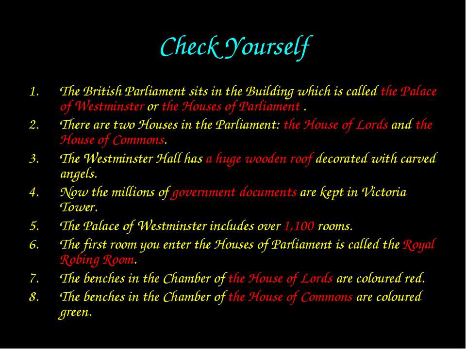 Check Yourself The British Parliament sits in the Building which is called th...