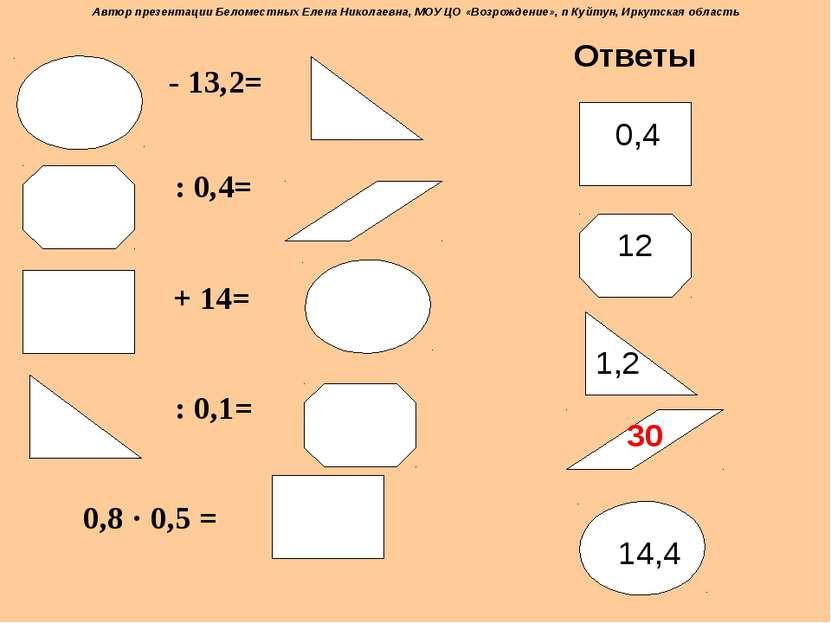 - 13,2= : 0,4= + 14= : 0,1= 0,8 · 0,5 = Ответы 0,4 14,4 1,2 12 30 Автор презе...