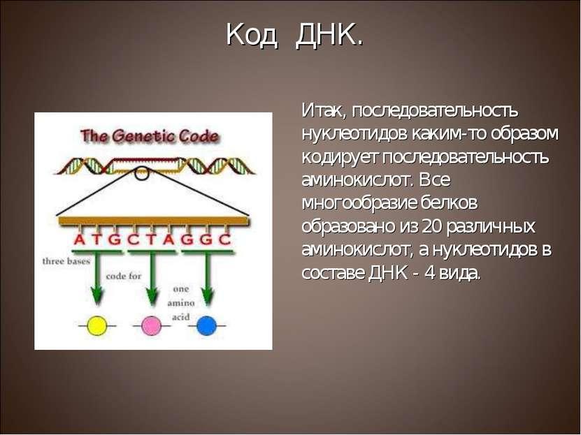 Итак, последовательность нуклеотидов каким-то образом кодирует последовательн...