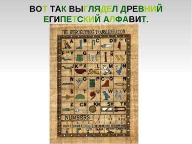 ВОТ ТАК ВЫГЛЯДЕЛ ДРЕВНИЙ ЕГИПЕТСКИЙ АЛФАВИТ.