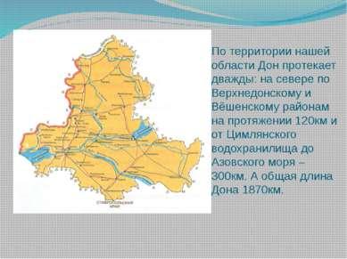 По территории нашей области Дон протекает дважды: на севере по Верхнедонскому...