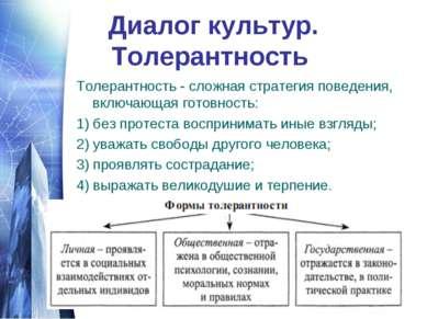 Диалог культур. Толерантность Толерантность - сложная стратегия поведения, вк...