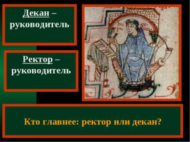Декан – руководитель факультета Ректор – руководитель университета Кто главне...