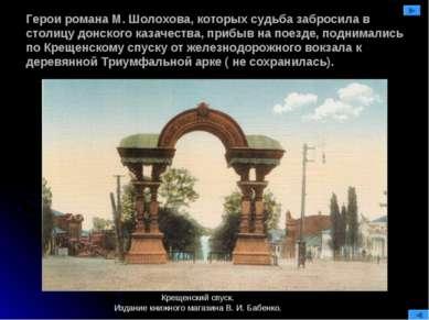 Герои романа М. Шолохова, которых судьба забросила в столицу донского казачес...
