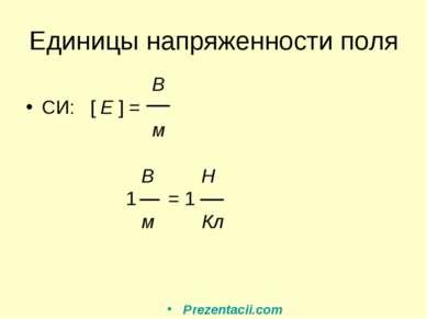 Единицы напряженности поля В СИ: [ E ] = м В Н 1 = 1 м Кл