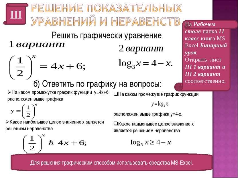 III Решить графически уравнение Для решения графическим способом использовать...