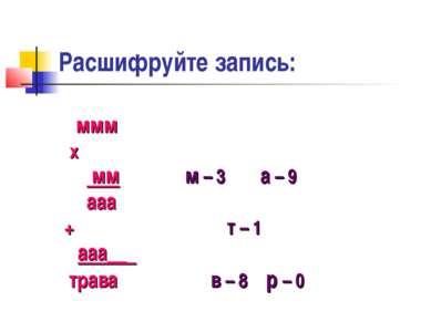 Расшифруйте запись: ммм x мм м – 3 а – 9 ааа + т – 1 ааа__ трава в – 8 р – 0