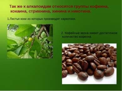 Так же к алкалоидам относятся группы кофеина, кокаина, стрихнина, хинина и ни...