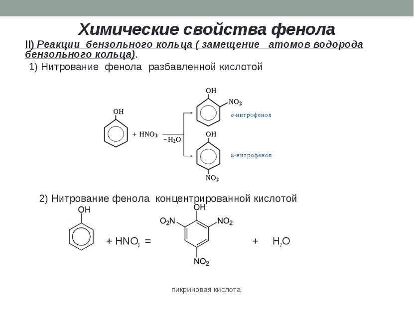 Химические свойства фенола II) Реакции бензольного кольца ( замещение атомов ...