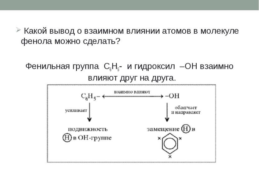 Какой вывод о взаимном влиянии атомов в молекуле фенола можно сделать? Фениль...