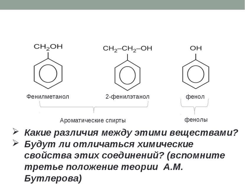 Фенилметанол 2-фенилэтанол фенол Какие различия между этими веществами? Будут...