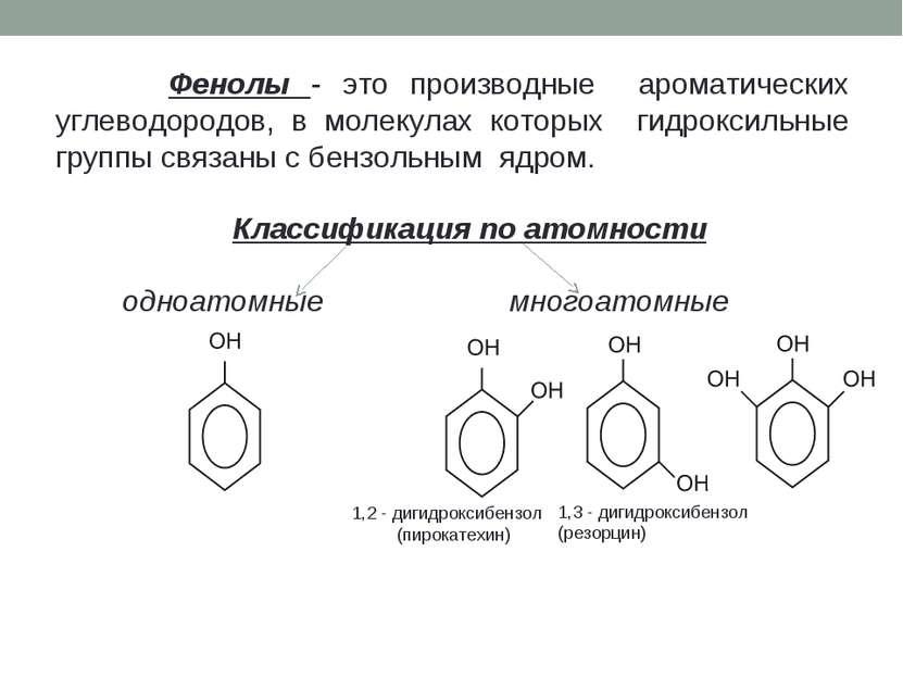 Фенолы - это производные ароматических углеводородов, в молекулах которых гид...