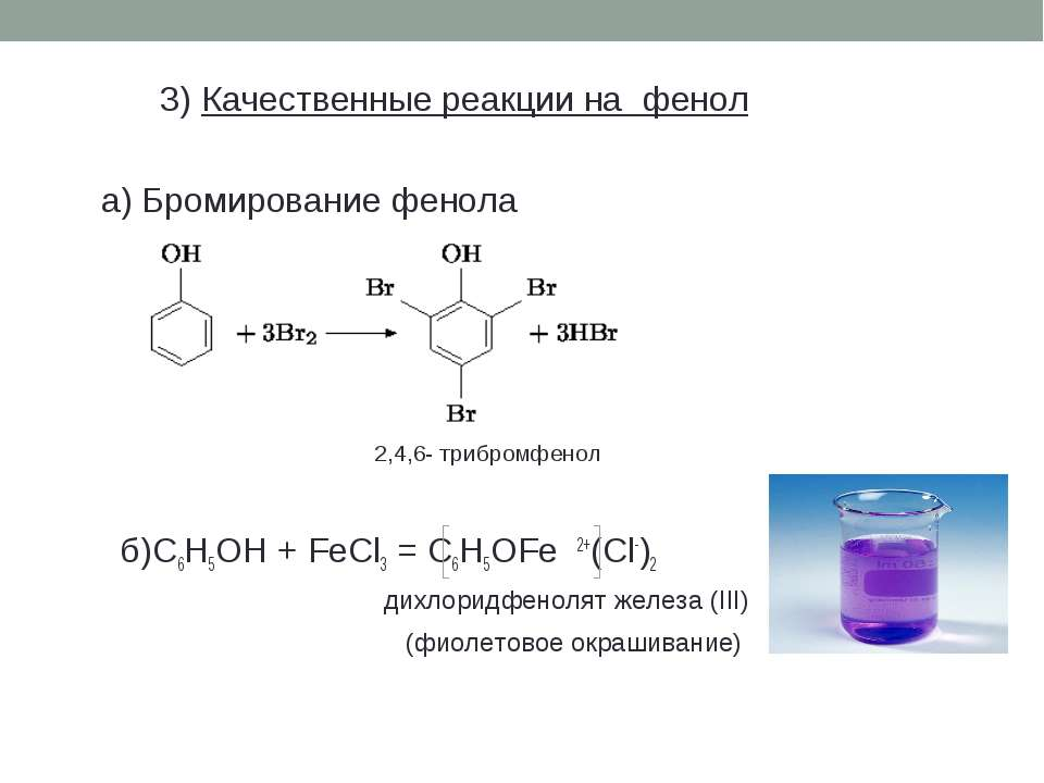 3) Качественные реакции на фенол а) Бромирование фенола 2,4,6- трибромфенол б...