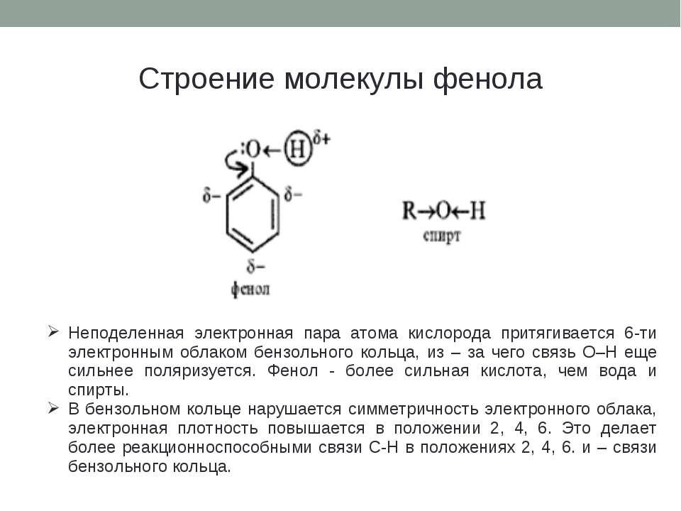 Строение молекулы фенола Неподеленная электронная пара атома кислорода притяг...