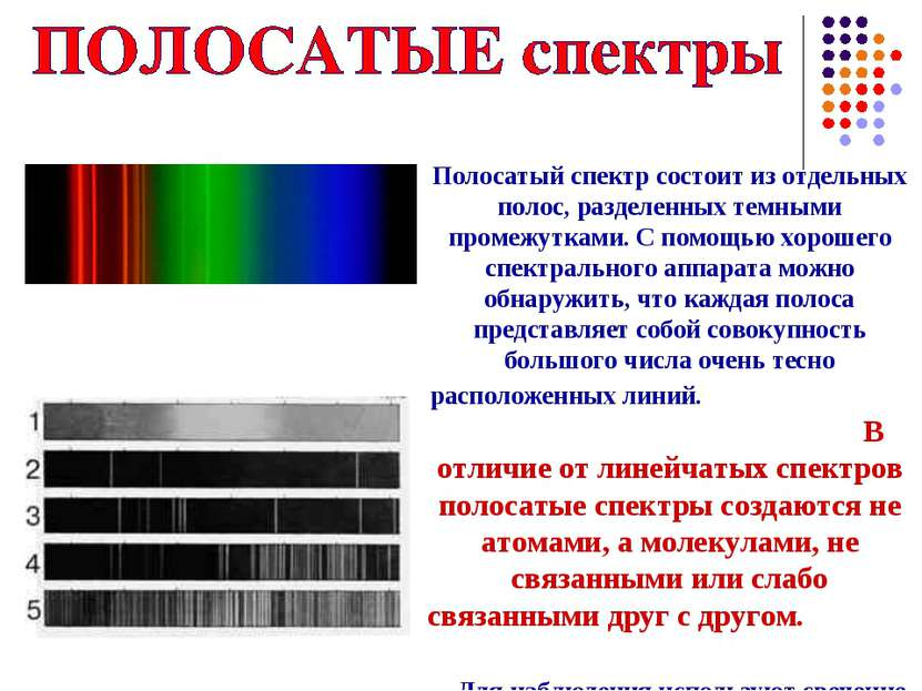 Полосатый спектр состоит из отдельных полос, разделенных темными промежутками...