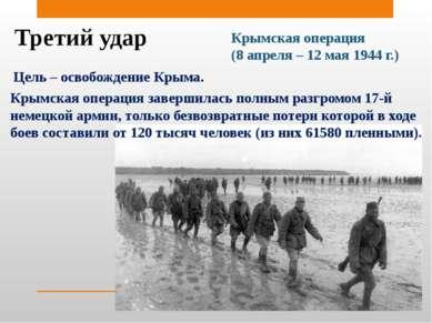 Третий удар Крымская операция (8 апреля – 12 мая 1944 г.) Цель – освобождение...