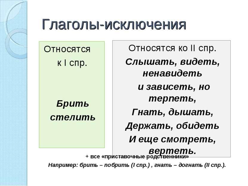 Глаголы-исключения Относятся к I спр. Брить стелить Относятся ко II спр. Слыш...