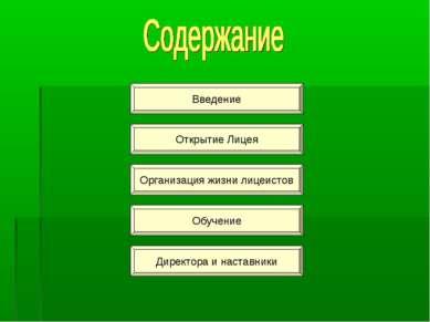 Введение Открытие Лицея Организация жизни лицеистов Обучение Директора и наст...