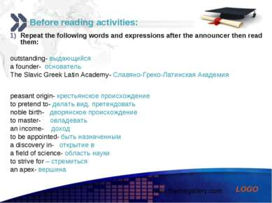 Before reading activities: Repeat the following words and expressions after t...