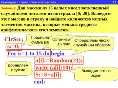 Задача 4. Дан массив из 15 целых чисел заполненный случайными числами из инте...