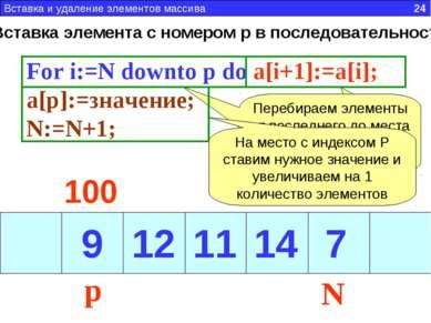Вставка элемента с номером p в последовательность For i:=N downto p do a[i+1]...