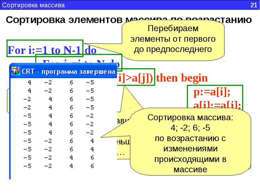 Сортировка элементов массива по возрастанию For i:=1 to N-1 do For j:=i to N ...