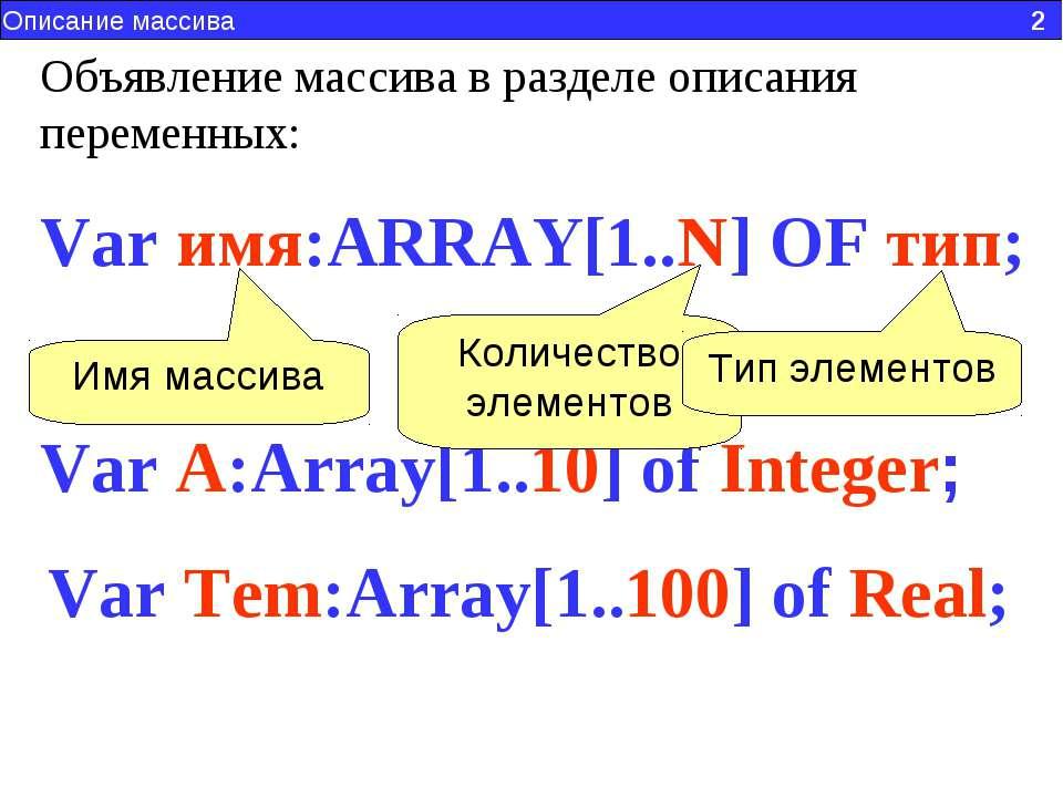 Описание массива 2 Var имя:ARRAY[1..N] OF тип; Объявление массива в разделе о...