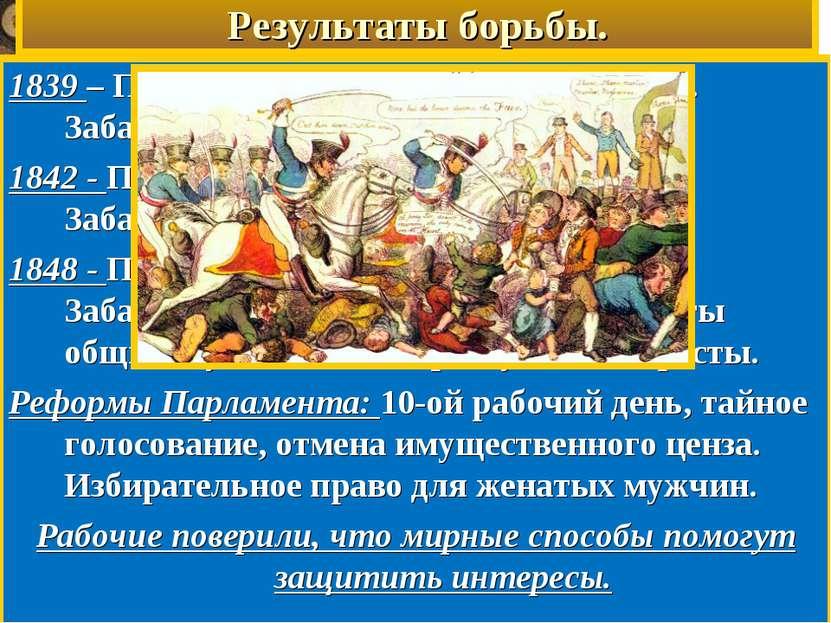 Результаты борьбы. 1839 – Парламент отверг Первую петицию. Забастовки. Аресты...