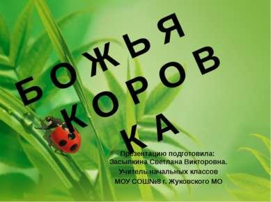 Презентацию подготовила: Засыпкина Светлана Викторовна. Учитель начальных кла...