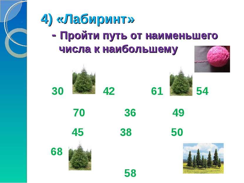 4) «Лабиринт» - Пройти путь от наименьшего числа к наибольшему 30 42 61 54 7...