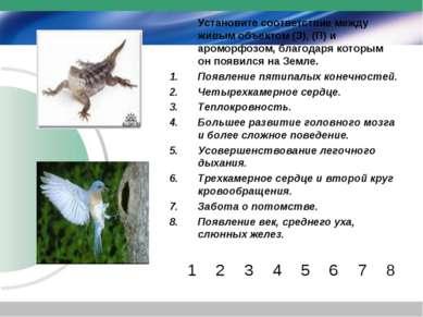 Установите соответствие между живым объектом (З), (П) и ароморфозом, благодар...