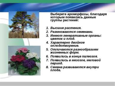 Выберите ароморфозы, благодаря которым появились данные группы растений: Высш...