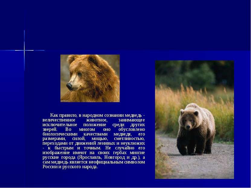 Как правило, в народном сознании медведь - величественное животное, занимающе...