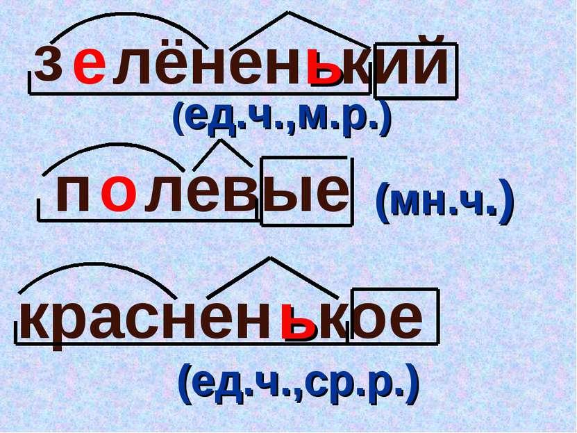 ь е ь левые п з лёнен кий о кое краснен (ед.ч.,м.р.) (мн.ч.) (ед.ч.,ср.р.)