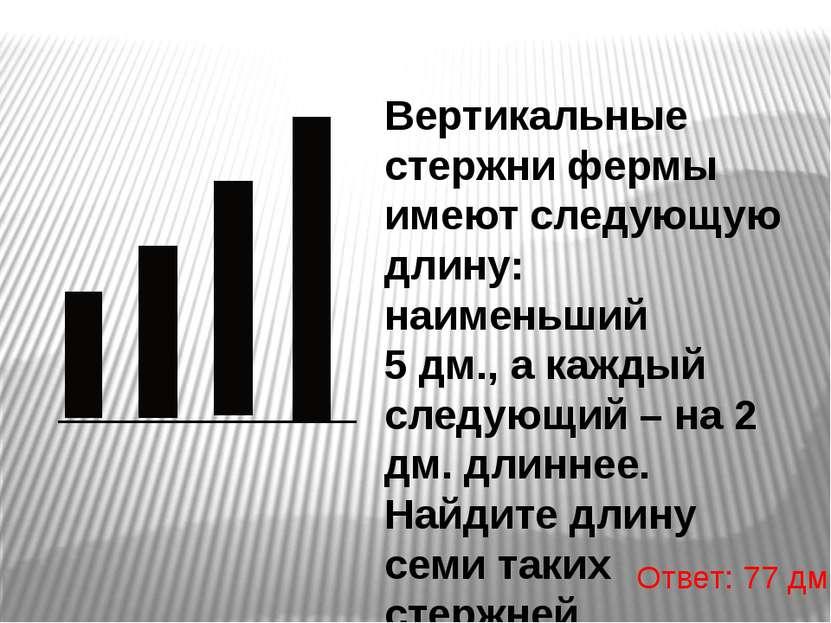 Вертикальные стержни фермы имеют следующую длину: наименьший 5 дм., а каждый ...