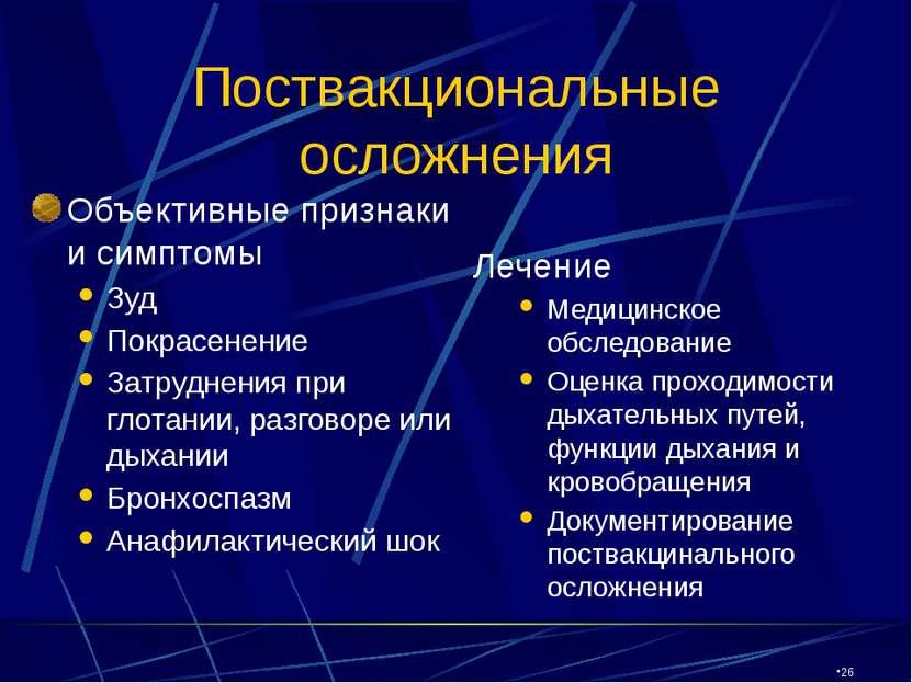 CW360/TTI/VE/LV/03/27/01 Поствакциональные осложнения Объективные признаки и ...