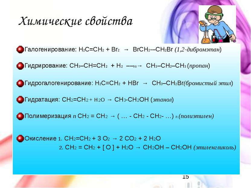 Химические свойства Галогенирование: H2C=CH2 + Br2 → BrCH2 –CH2Br (1,2-дибр...