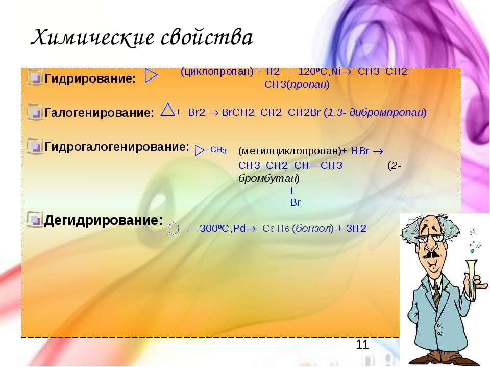 Химические свойства Гидрирование: Галогенирование: Гидрогалогенирование: Деги...