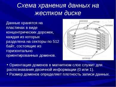 Схема хранения данных на жестком диске Данные хранятся на пластинах в виде ко...
