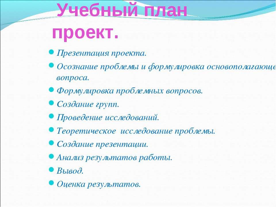Учебный план проект. Презентация проекта. Осознание проблемы и формулировка о...