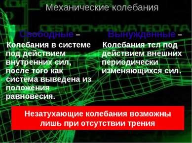 Свободные – Колебания в системе под действием внутренних сил, после того как ...