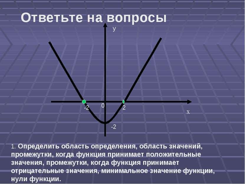 х у 0 -2 2 -2 1. Определить область определения, область значений, промежутки...