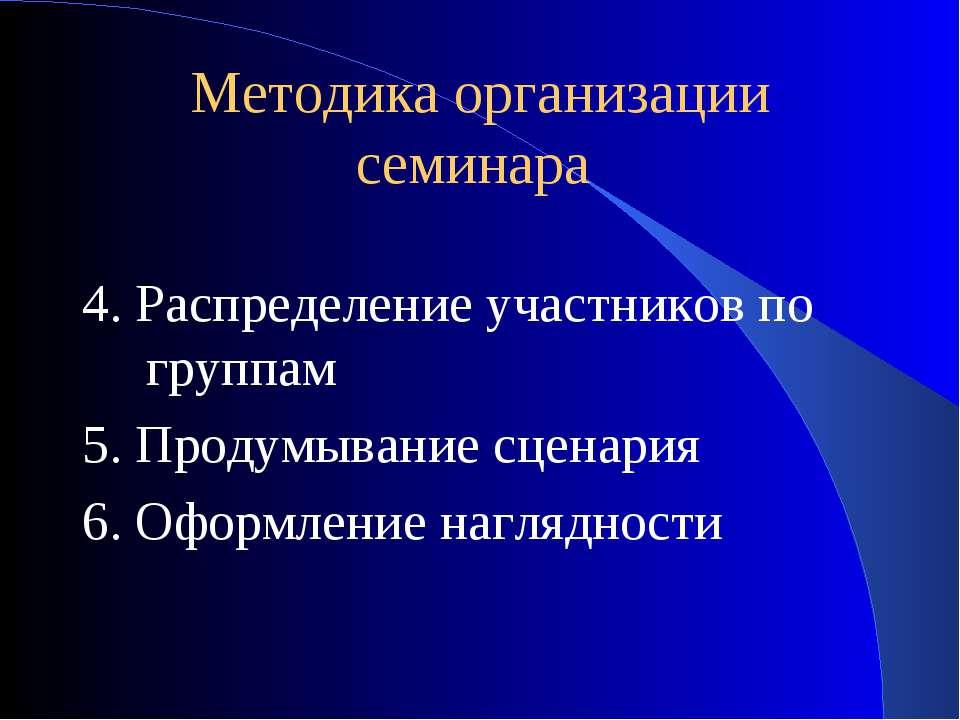 Методика организации семинара 4. Распределение участников по группам 5. Проду...