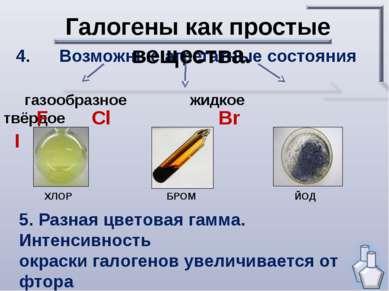 4. Возможные агрегатные состояния Галогены как простые вещества. газообразное...