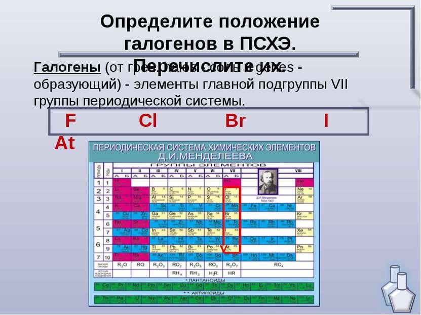 Определите положение галогенов в ПСХЭ. Перечислите их. Галогены (от греч. hal...