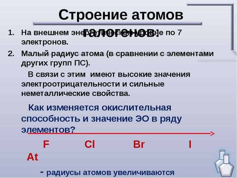 Строение атомов галогенов: На внешнем энергетическом уровне по 7 электронов. ...