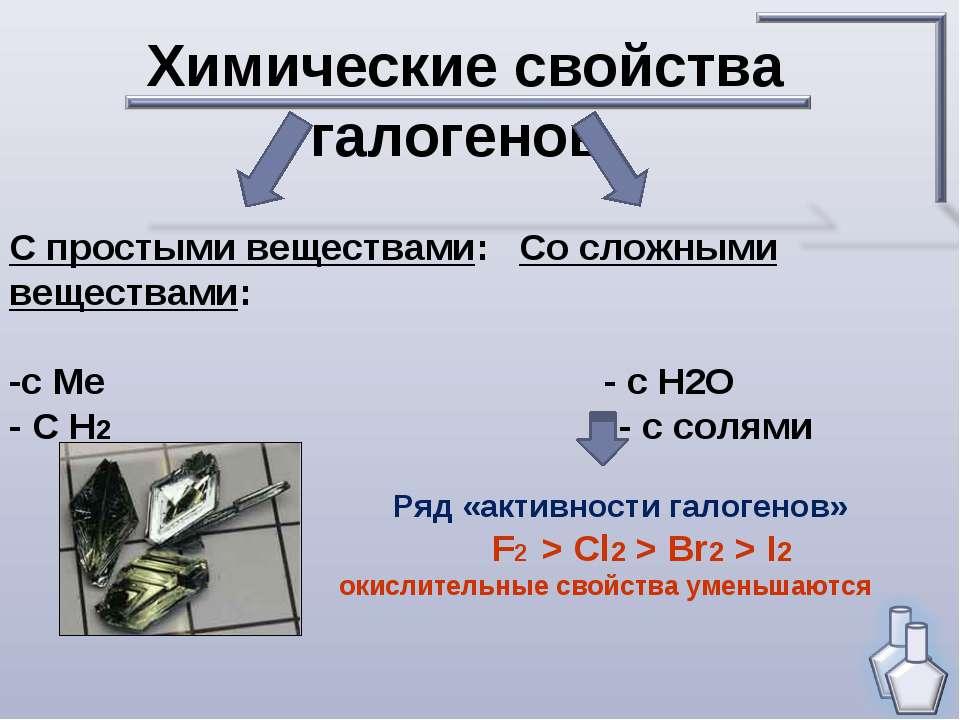 Химические свойства галогенов. С простыми веществами: Со сложными веществами:...