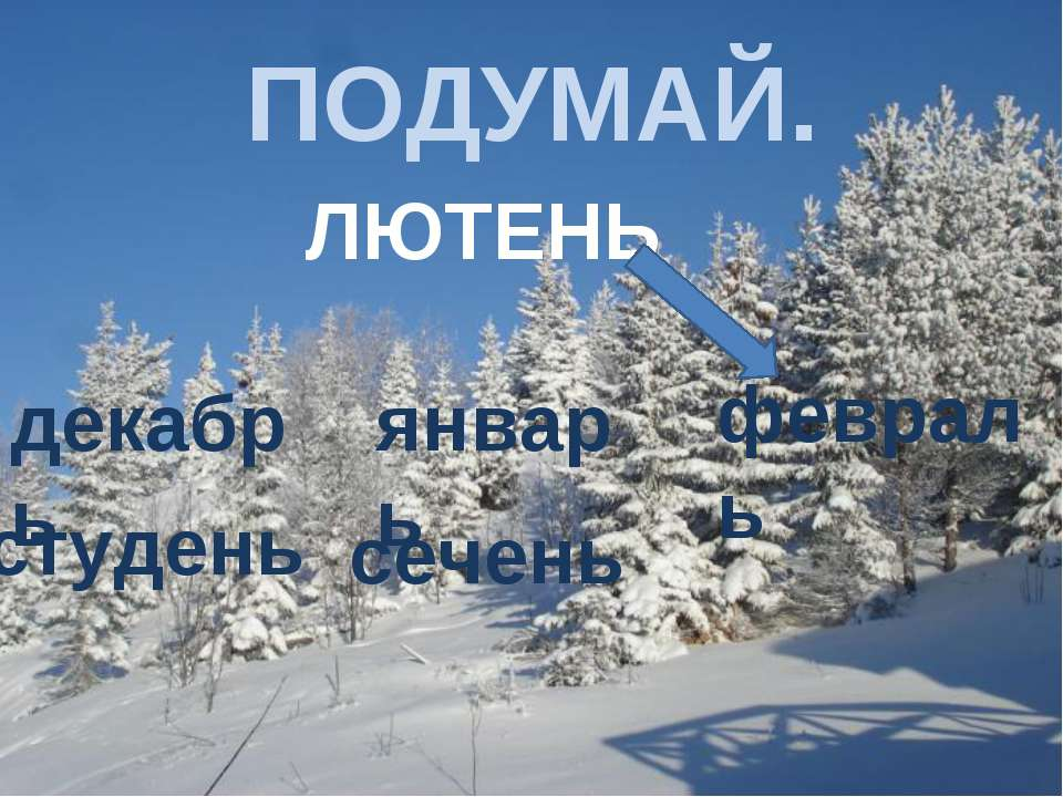 ПОДУМАЙ. ЛЮТЕНЬ декабрь январь февраль студень сечень