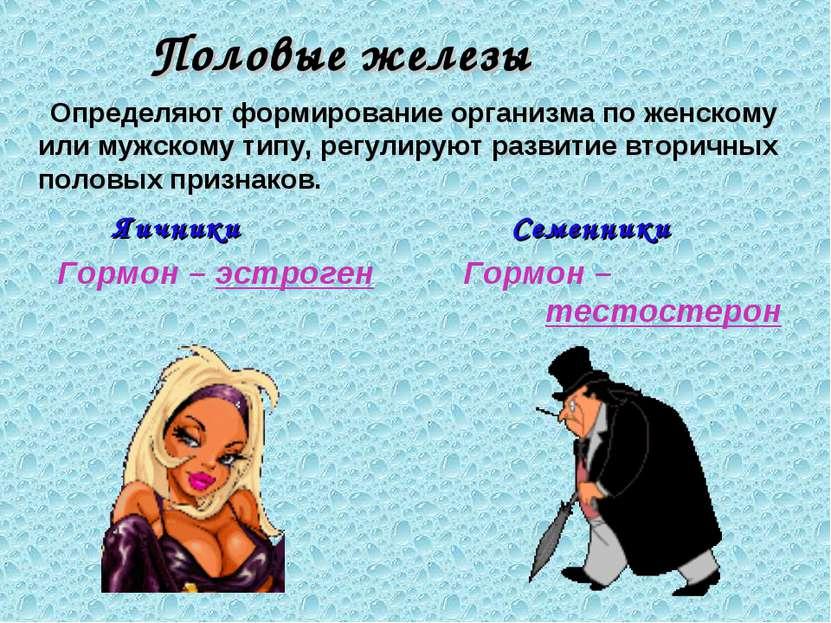 Половые железы Определяют формирование организма по женскому или мужскому тип...